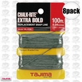 "Tajima PL-ITOL 8pk 100 ft .04"" Bold Braided Replacement Chalk Line"