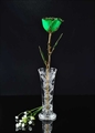24K Gold Trimmed Green Rose with Crystal Vase