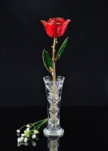 24K Gold Trimmed Red Rose with Crystal Vase