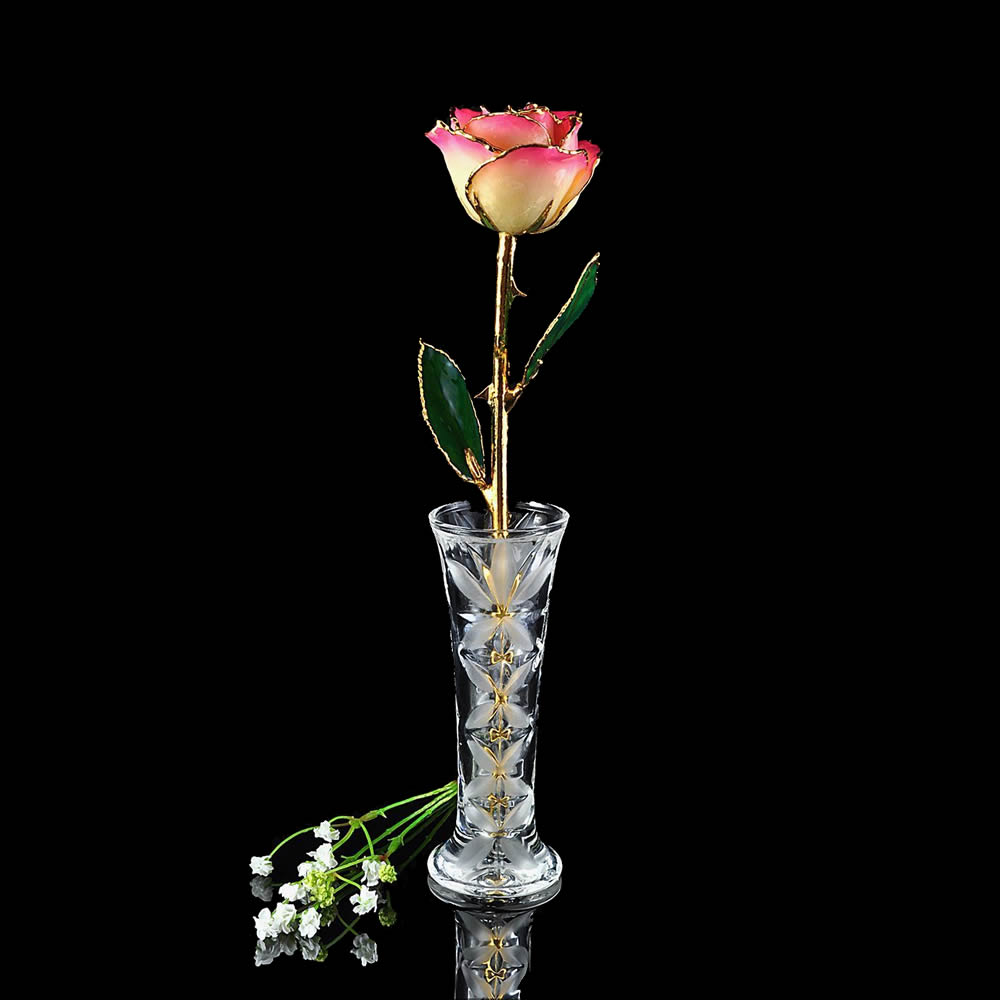 24k Gold Trimmed White And Pink Rose With Crystal Vase