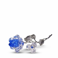 Blue Crystal Milano Rose with Pewter Stem