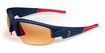 "Boston Red Sox Dynasty ""Stitch"" Sunglasses, Blue with Red Tips"