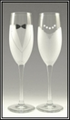 Bride and Groom Champagne Toasting Flutes - Set of Two