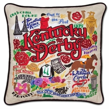 CatStudio Hand Embroidered Kentucky Derby Pillow