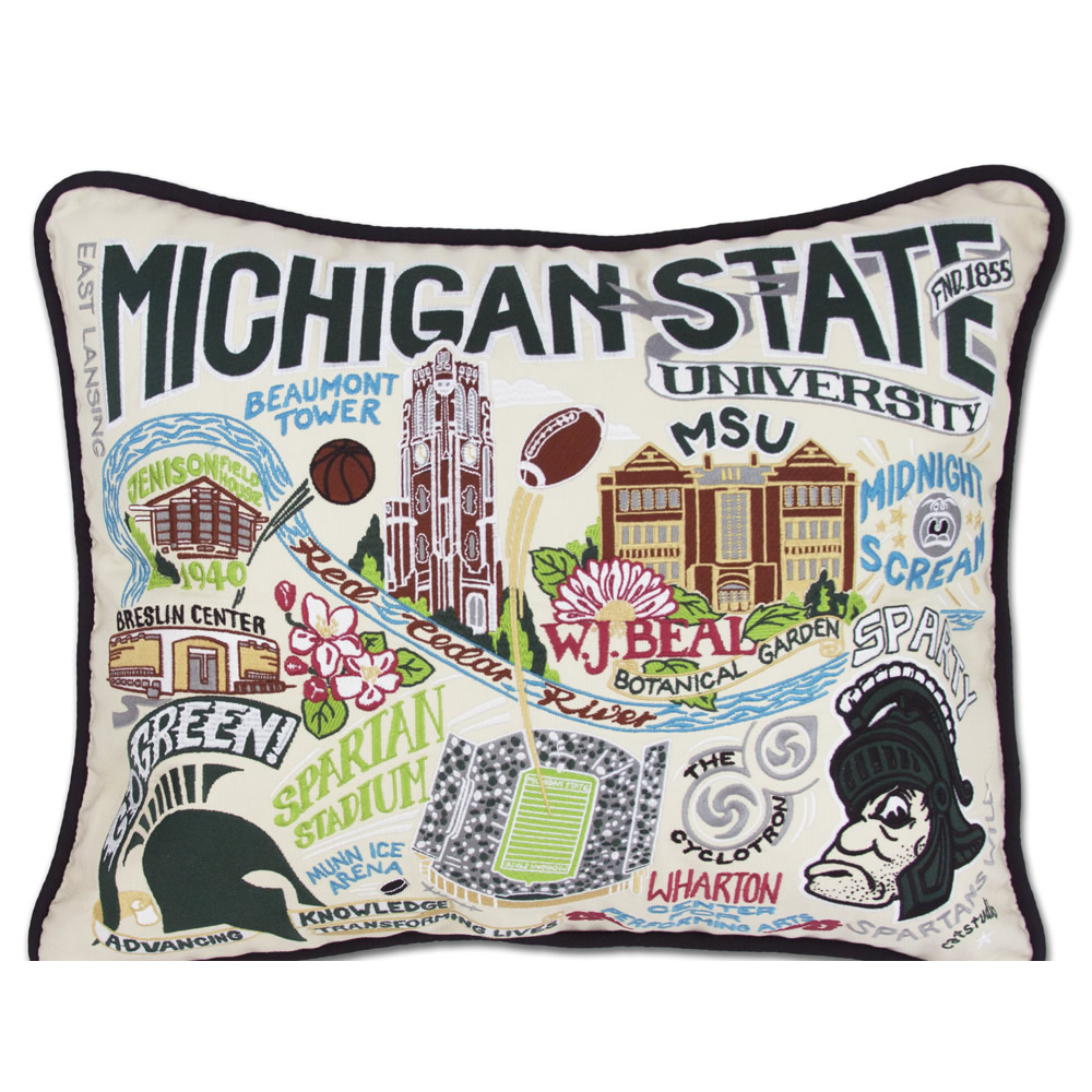spartans catstudio embroidered michigan state university pillow