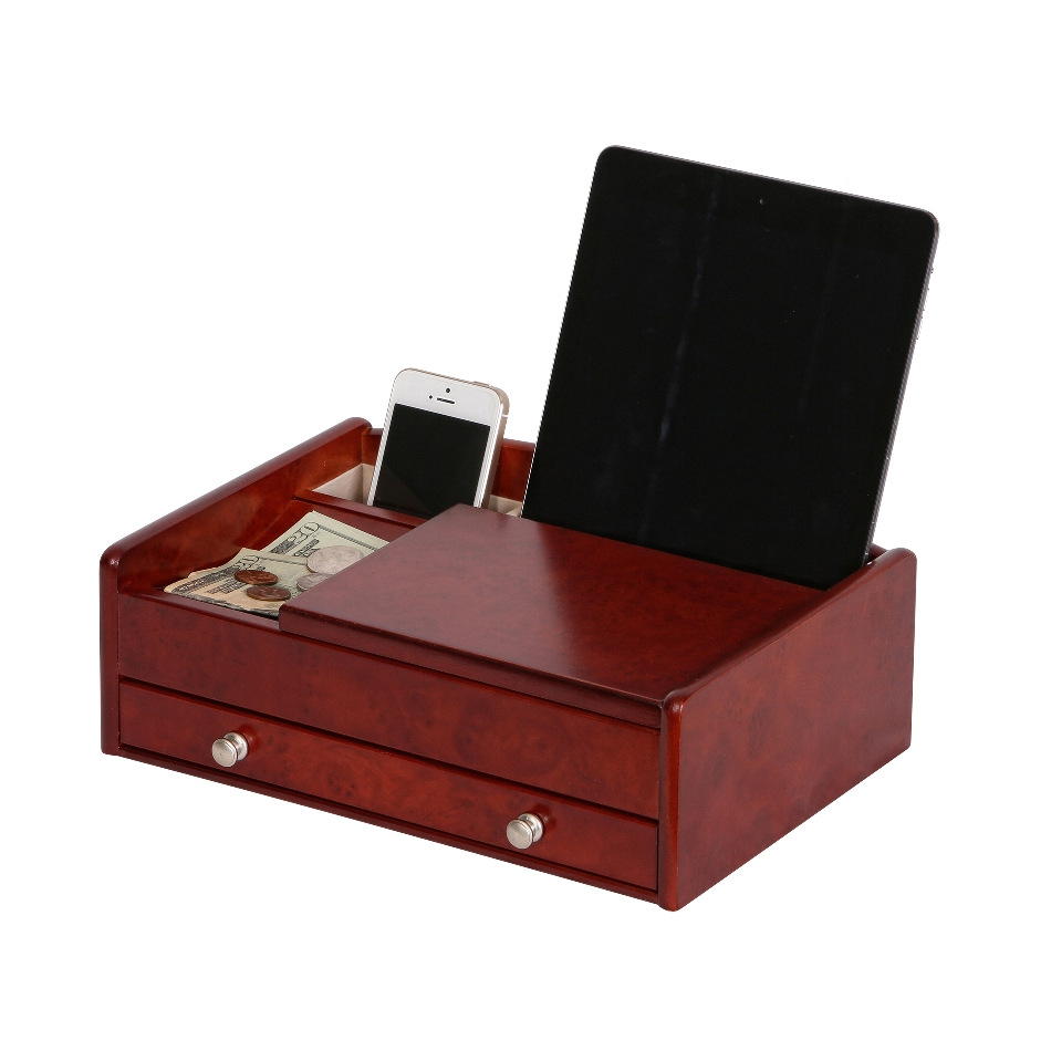 Davin Men's Dresser Top Valet in Dark Burlwood Walnut Finish