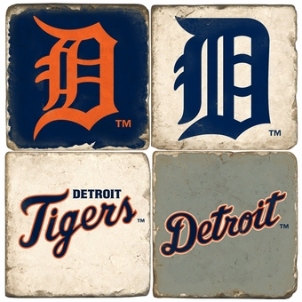 Detroit Tigers Tumbled Italian Marble Coasters (set of 4)