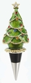 Enameled Christmas Tree Wine Bottle Stopper with Crystals
