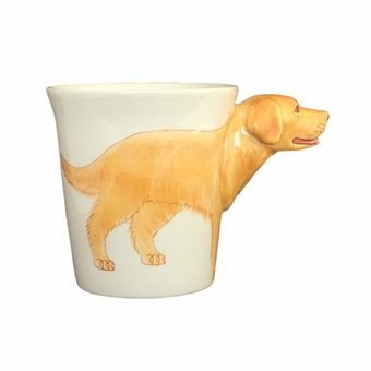 Golden Retriever Handpainted Sculptured Ceramic Mug