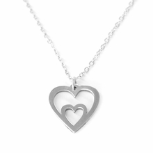 Hand Crafted Sterling Silver Double Heart Necklace