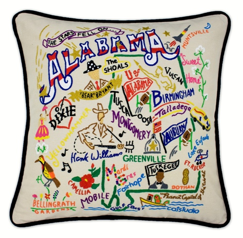 hand embroidered catstudio alabama state pillow