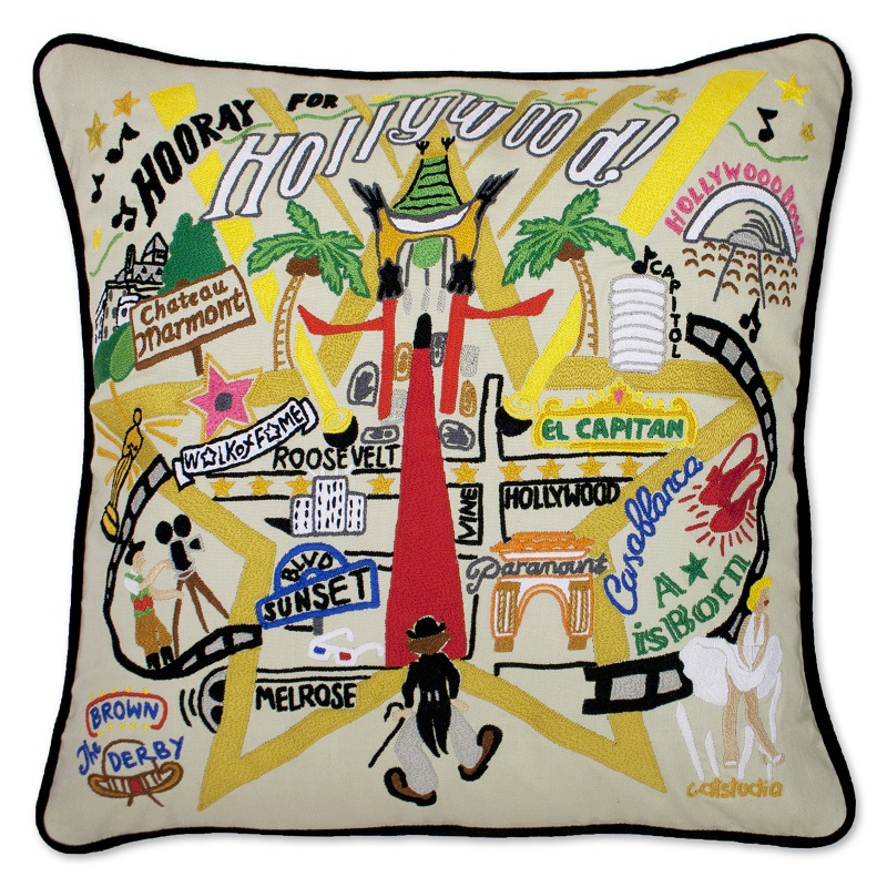 hand embroidered catstudio hollywood pillow