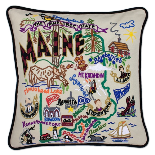 hand embroidered catstudio maine state pillow