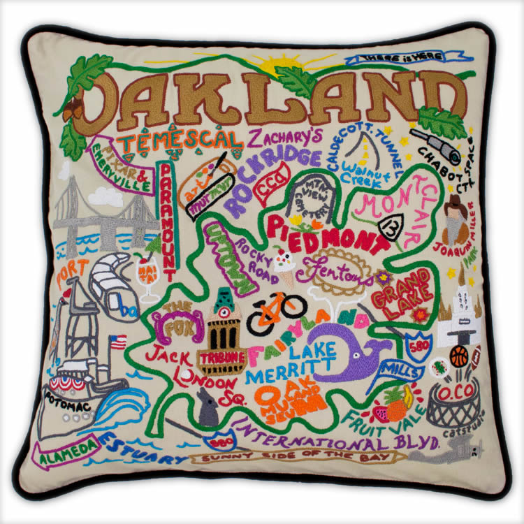 hand embroidered catstudio oakland pillow