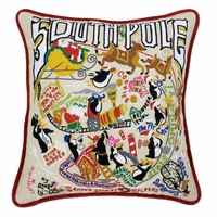 Hand Embroidered CatStudio South Pole Pillow