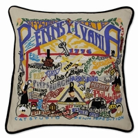 Hand Embroidered Catstudio State Pillows