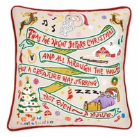 Hand Embroidered CatStudio T'was the Night Before Christmas Pillow