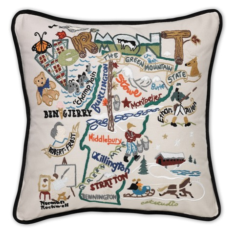 hand embroidered catstudio vermont state pillow