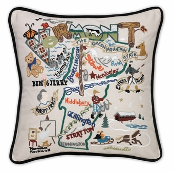 catstudio state pillows hand embroidered catstudio vermont state