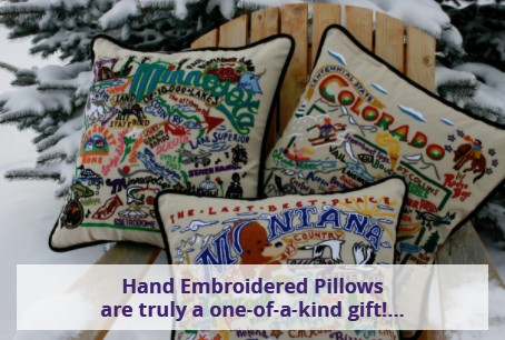 Cat Studio Hand Embroidered Pillows