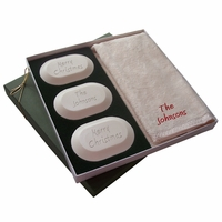 Merry Christmas Personally! Personalized Carved Soap Luxury Gift Set