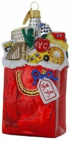 Michael Storrings New York City in a Bag Blown Glass  Christmas Ornament
