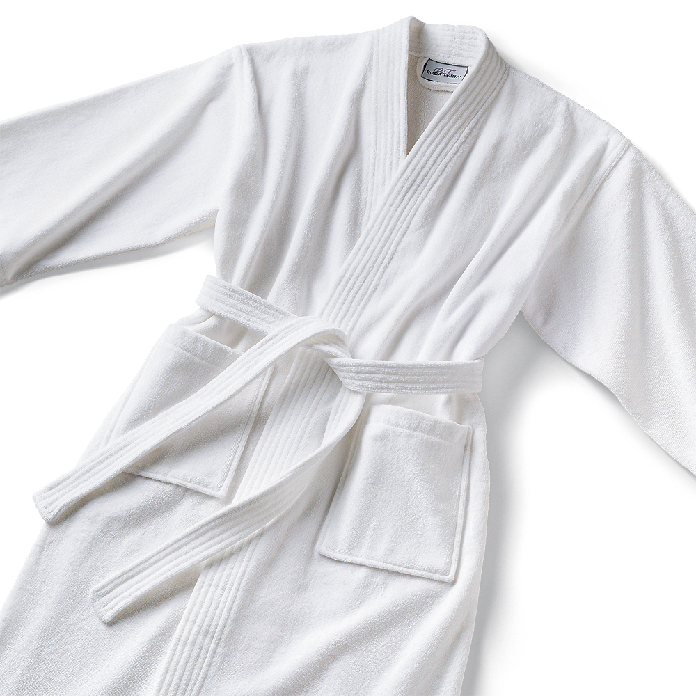 Bathrobe: White Kimono Style Terrycloth Bathrobe Monogrammed