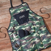 Personalized Camo Deluxe Grilling Apron Set