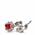 Red Crystal Milano Rose with Pewter Stem