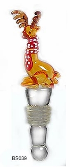 Reindeer Wine  Bottle Stopper - Handblown Glass