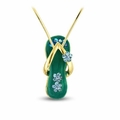 Sea Green Flip Flop Necklace in Gold Plate - With Chain