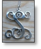 Sterling Silver Vine Initial Pendant - Handcrafted in the USA