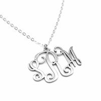 Sterling Silver Vine Monogram Pendant - Handcrafted in the USA