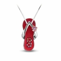 Watermelon Pink Flower Strap Flip Flop Necklace in Silver - With Chain