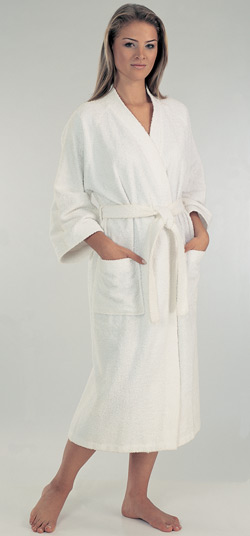 Color: White LCM Home Fashions, Inc. Women's % Cotton Terry Cloth Bathrobe Relax in luxury with this opulent terrycloth bath robe. Constructed of soft, absorbent cotton, this piece is easily machine washable for convenience and it features the aegis.