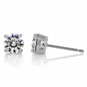 1.5 TCW Jessica's Silvertone Prong Stud Earrings