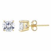 Jessica's 6mm Round Cut CZ Gold Stud Earrings - 1.5 TCW