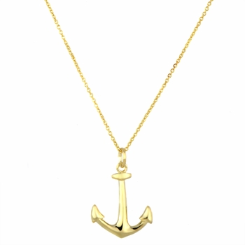 18 inch Goldtone Anchor Charm Necklace