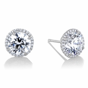 Diamond Halo & 7.5 mm CZ Stud Earrings in 18kt White Gold