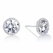 Diamond Halo & 8 mm CZ Stud Earrings in 18kt White Gold