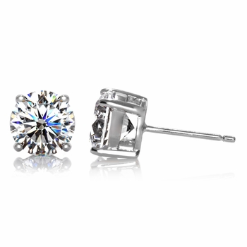 4 TCW Jessica's Silvertone Stud Earrings