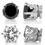 6mm Simulated Black and White Diamond Magnetic Earrings Set of 2