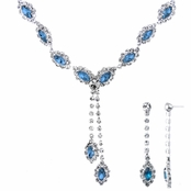 Aaliyah's Blue Marquise Cut Fashion Prom Necklace Set