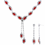 Aaliyah's Red Marquise Cut Fashion Prom Necklace Set
