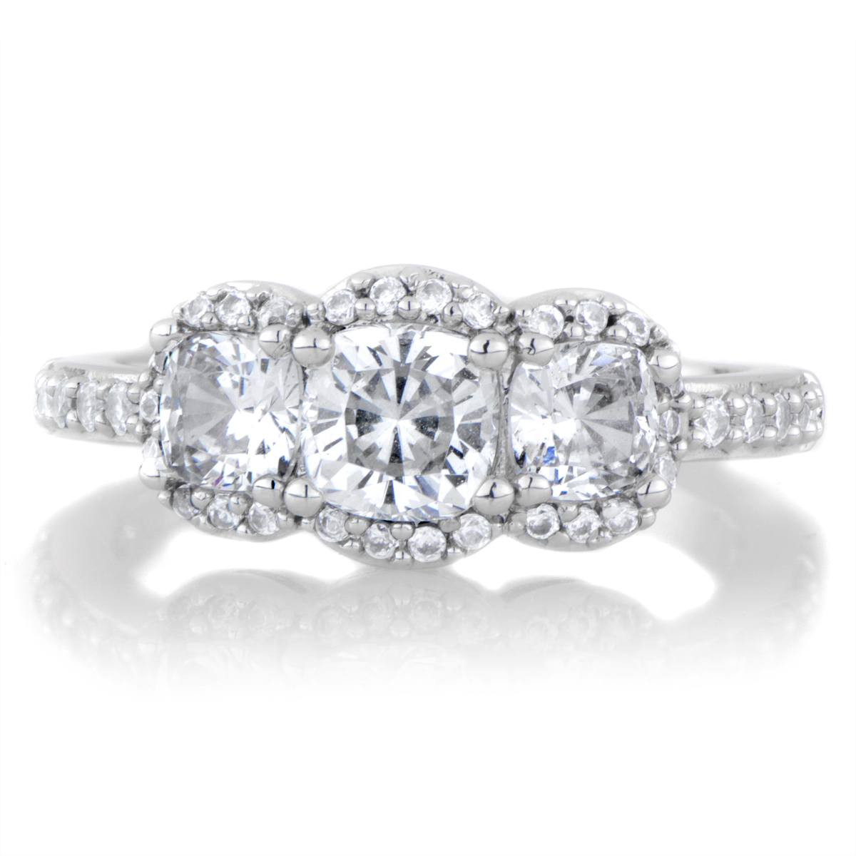 Abigail s Cushion Cut 3 Stone Engagement Ring