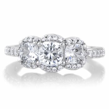 Abigail's Cushion Cut 3 Stone Engagement Ring