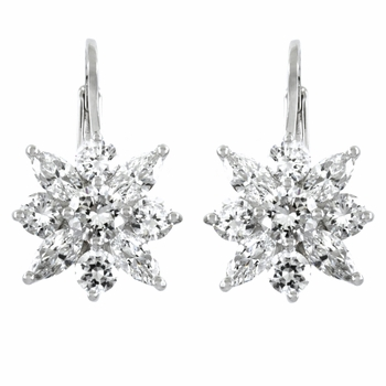Acacia's Leverback CZ  Flower Earrings