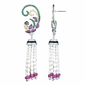 Achara's Genuine Stone Peacock Pearl Dangle Earrings
