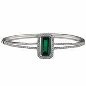 Adabelle's Fancy Emereald Cut Green CZ Bangle Bracelet