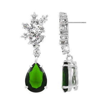 Adalia's 6 Ct CZ Pear Cut Dangle Earrings - Simulated Emerald
